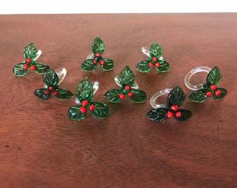 Glass Holly Napkin Rings