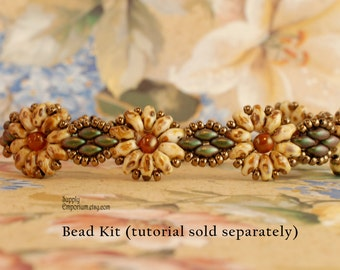 Picasso Daisies Beadweaving Bracelet Bead Pack BB19 - Tutorial Sold Separately - Beaded Bracelet Bead Pack
