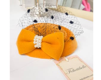 Mustard Yellow Felt Pillbox Fascinator Hat