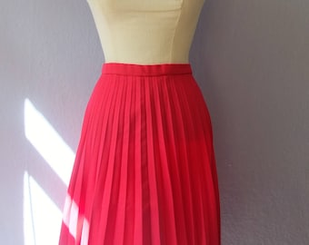 70s rock true vintage pink pleated skirt S / m pin up rockabilly preppy classic handsewn homemade