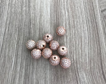 Pearl cubic zirconia 10mm rose gold