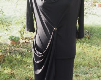Very smart draped short black dress