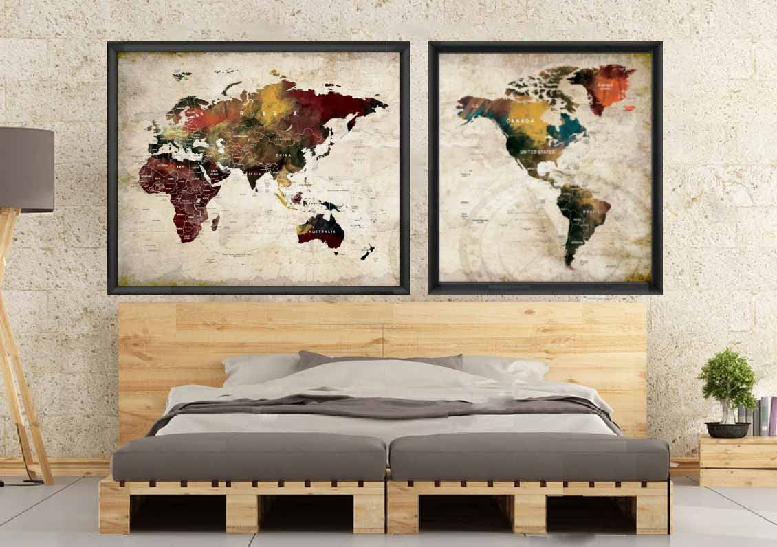 Large world map watercolor map art posterpush pin map poster large world map watercolor map art posterpush pin map poster travel map posterworld map decal world map decalworld map wall artmap art gumiabroncs Image collections