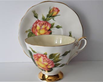 Royal Standard Vintage Teacup & Saucer. Fine bone china Teacup and Saucer.Gift idea. Floral China. Afternoon tea.