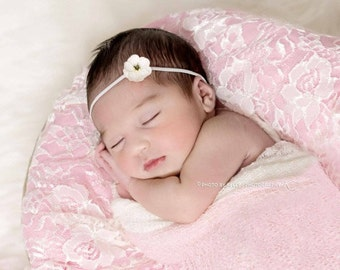 WHITE BABY HEADBAND, Newborn Headband, White Headband, Photography Prop, Headbands, Infant Headbands, Baby Headbands, White Headband