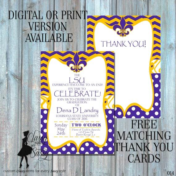 LSU Graduation Invitation, Graduation Invitation, Purple and Gold Invitation, Fleur de lis invitation, purple birthday invitation 015