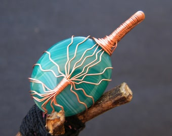 Green Agate Pendant Copper Wire Wrapped Gemstone Pendant Handmade Wire Wrapping Jewelry