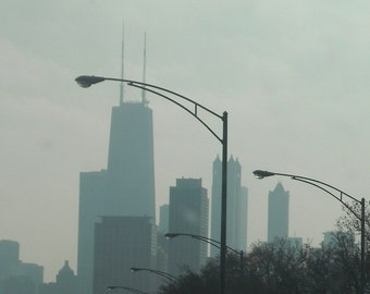 Chicago Photography, Chicago skyline, travel photo, Chicago Art print, gray city silhouette, industrial, modern, travel - WINDY CITY SKYLINE