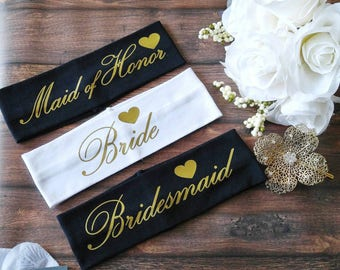 Bridal party headband - bridesmaid gift - will you be my bridesmaid - bridal party gift - bride headband - maid of honor gift - bachelorette