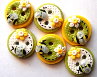 Button Bitsy Bees handmade polymer clay buttons ( 6 )