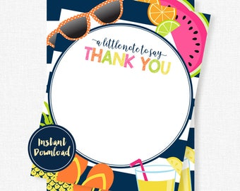 Tutti Frutti Birthday Thank You Cards, Printable Blank Thank You Card, INSTANT DOWNLOAD