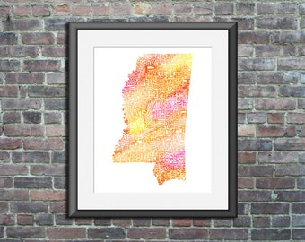 Mississippi watercolor typography map art unframed print state poster wedding engagement graduation gift anniversary wall decor lake house