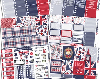 London Planner Stickers a la Carte Sheets | Erin Condren Vertical | White Space Planning | Travel Stickers | British Stickers