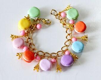 Macaroon Bracelet - Rainbow Macaroon Bracelet  - Kawaii Bracelet - Miniature Food Bracelet - Food Jewelry - Macaron Jewelry - rainbow colors