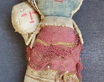 SALE- Antique or Vintage Inca Grave Doll Chancay Folk Art Primitive Cloth Fiber Textile Doll With Papoose Native American Look Style