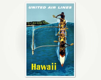 Hawaii Travel Poster Print - United Airlines Hawaii Travel Poster Art - Vintage Hawaii Mid Century Wall Art