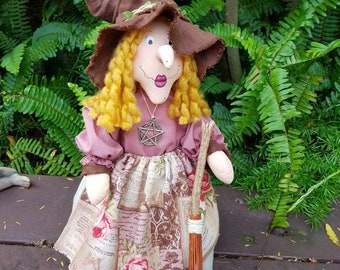 Kitchen Witch-Bette, standing Kitchen Witch with broom-witch doll with broom-rustic country witch-pagan wicca-magical rustic kitchen decor.