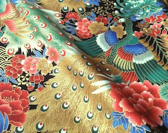 Japanese traditional pattern, large flower and Peacock, black background, cotton 110 x 50 (252B)