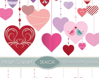 Heart Clipart Heart Bunting Clip Art Valentines Garland Clipart Ornaments Scrapbooking Decorations Baby Prom Vintage Wedding Invitations
