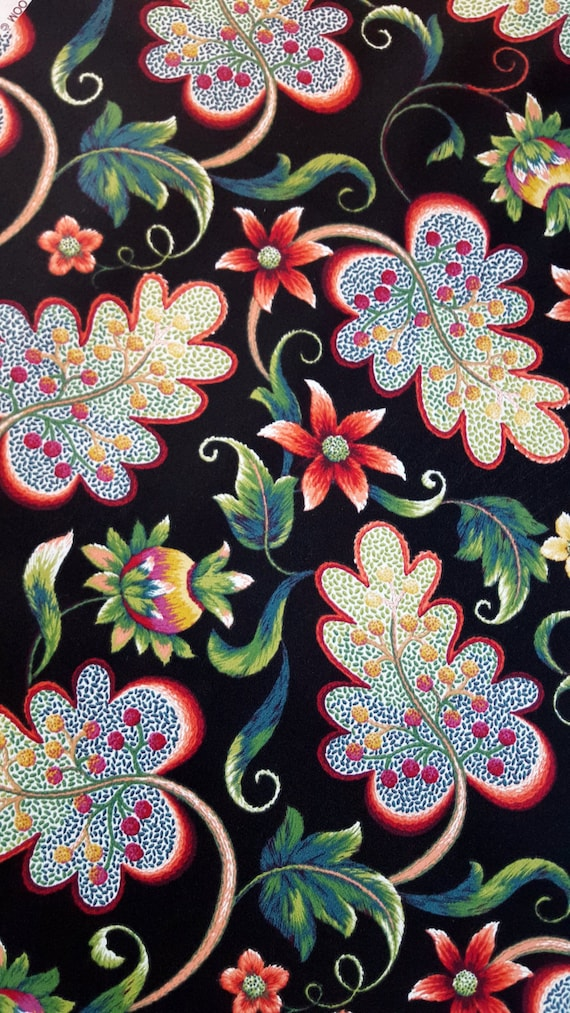 Outdoor Home Decor Fabric WILLOUGHBY BLACK, Solarium Home Decor, 3/4 Yard  Large Floral Bright Beautiful Fabric For Creative Genius Projects From ...