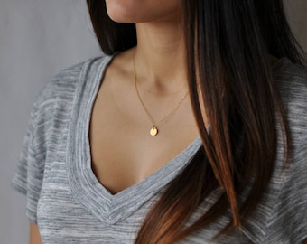 Gold Disk Necklace, Gold disc necklace, Dainty disc, Gold circle pendant, Simple everyday necklace, Tiny gold disc, Small Gold disc, NS 63