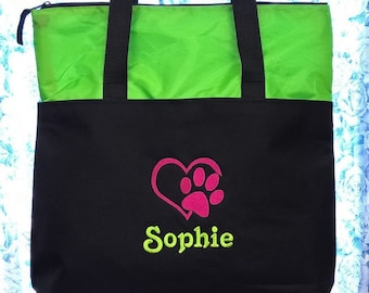 Personalized Pet Travel Tote Bag Dogs Cats Paw Print Carry Bag