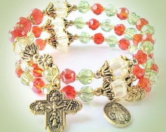 Wrap Rosary Bracelet, Catholic Rosary, Wrap Rosary, Red-Green Rosary, Rosary Wrap Bracelet, Wrist Rosary Bracelet, OUR LADY Bead, #565