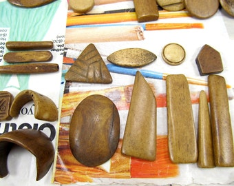 Bone Cabachons, Assorted Brown Bone, Mix Shape Undrilled Pendants, Brown Freeform Cabs, 95 grams 11033