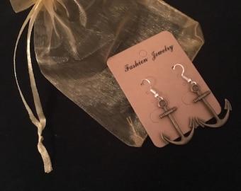 Antique Anchor Earrings Bronze-/silberfarbend
