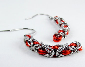 Orange Long Byzantine - Chainmaille Earrings