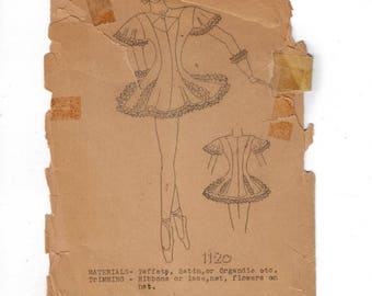 1950s Vintage Sewing Pattern Wagners Pattern 1120 Girls Dance Costume Size 6 50s