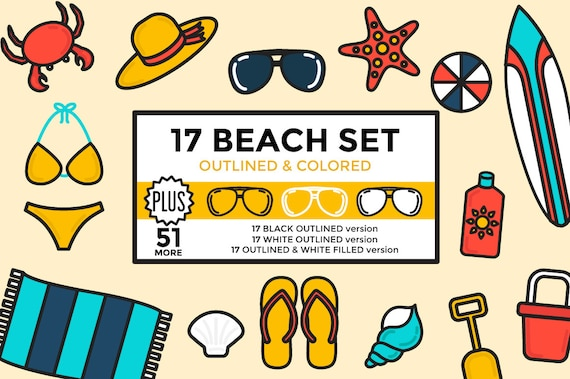 Beach Clipart Summer Vacation Set Outlined Rh Etsy Com Cartoon