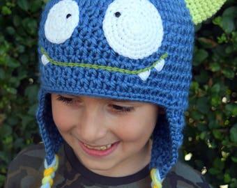 Handmade Crochet Monster hat, Girls hat, Boys hat, Kids hat, little Monster hat, Character hat