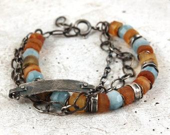 amber aquamarine silver bracelet, 925 sterling silver multi strand chain bracelet, handmade handcrafted chain bracelet
