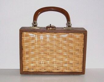 Charming 1950s purse / vintage 50s handbag / Vegan / Wicker Wooden Box Purse