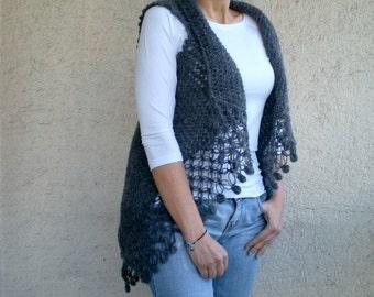 Knit Crochet Charcoal Gray Vest, Shrug Gift for her for mom under 75