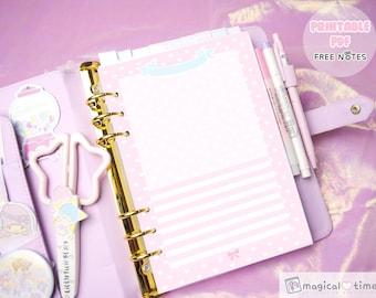 Kawaii a5 printable note - free notes refill - Dokibook Kikki K Filofax printable notepaper - cute planner