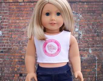 American Made Doll Clothes | Save the Cubby Unicorns Floral CROP TANK TOP for 18 inch doll