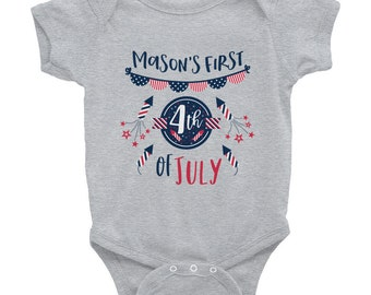 Custom, 4th of July, Infant Bodysuit, snapsuit, any, baby, name, fourth of July, customize, red white and blue, independence day