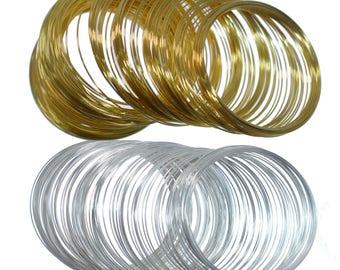Memory Wire Pack of 60 Coils Steel Bracelet Loop Findings Silver Gold 55x0.5mm