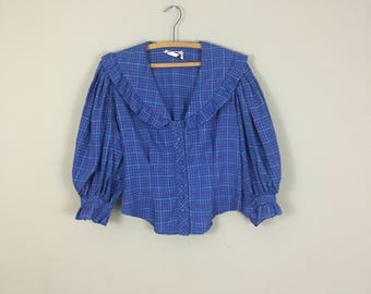 70's Plaid Blouse