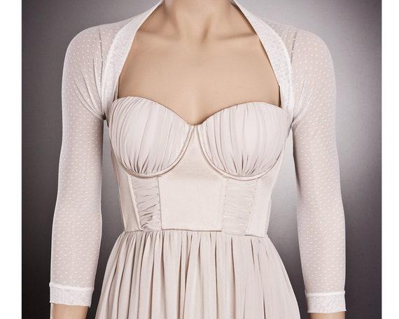 Vintage Style Polka DOT Wedding Bolero With 3/4 Sleeves In 2