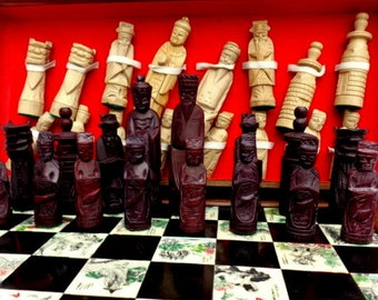 Vintage chess set,  Asian chess set , Chess set, Hand Carved  chess set