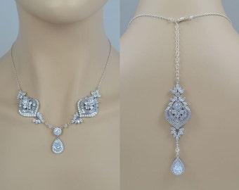 Braut Zirkonia Kristall Halskette, Hochzeitsschmuck, Silber Ton, Rose Gold-Ton, Tropfen, Hintergrund, Sammy - wird in 1-3 Werktagen versenden.