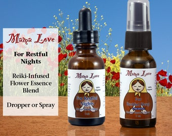 Restful Sleep, Flower Essence Dropper or Spray for Deep Relaxation, Organic, Reiki-Infused Bach and North American Flower Remedy