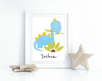 Dinosaur Print, Nursery Print, Personalised A4 Children Wall Art, Boys  Room, Girls