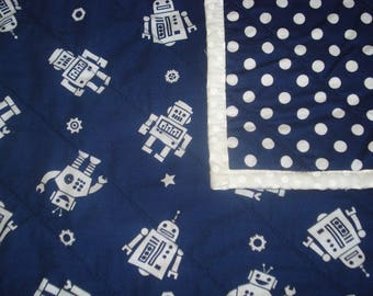 Navy Blue Robot Baby Quilt, Robot Toddler Quilt, Lap Quilt, Baby Boy Shower Gift,
