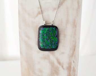 Green and Silver Dichroic Glass Pendant. Includes Chain.