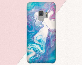 Blue Samsung Galaxy S9 Phone Case, Galaxy S9 Plus Case, Paint Splatter S9 Case, Marble Look, Blue Purple Pink, Galaxy S8 Case, S7, Note 8