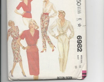 UNCUT Sewing Pattern McCalls 6982 for Blouse, Skirt and Pants, Sz 16, 1980s